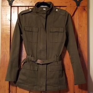 Old Navy military style olive green jacket with be